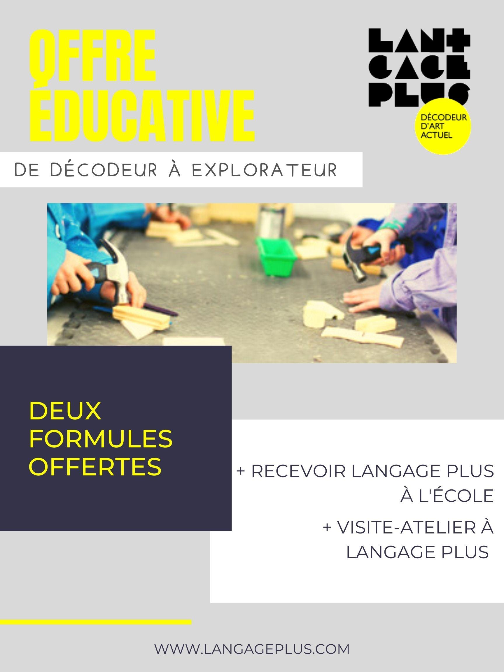 Offre du éducative du centre d'art actuel Langage Plus. Langage Plus à l'école, 2021.